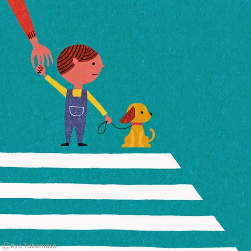 boy and his dog crossing the street illustration by Ryo Takemasa