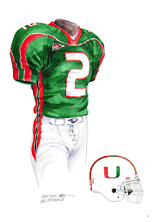 2002 University of Miami Hurricanes football uniform original art for sale