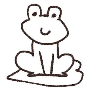 カエルのイラスト(梅雨)線画