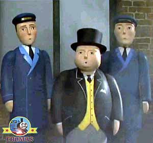 The two smart station porters and The Fat Controller spoke to James Thomas and the 7 railway engines