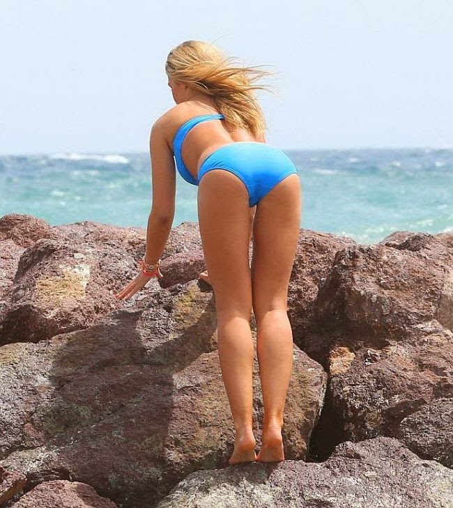 The stunning lady, Amy Willerton heading to the beach at Cannes, France on Friday, May 30, 2014 are looking forward to some a few attention for love taken to an exotic seashore in a blue bikini
