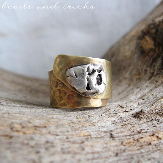 Anello in ottone similoro e argento 925