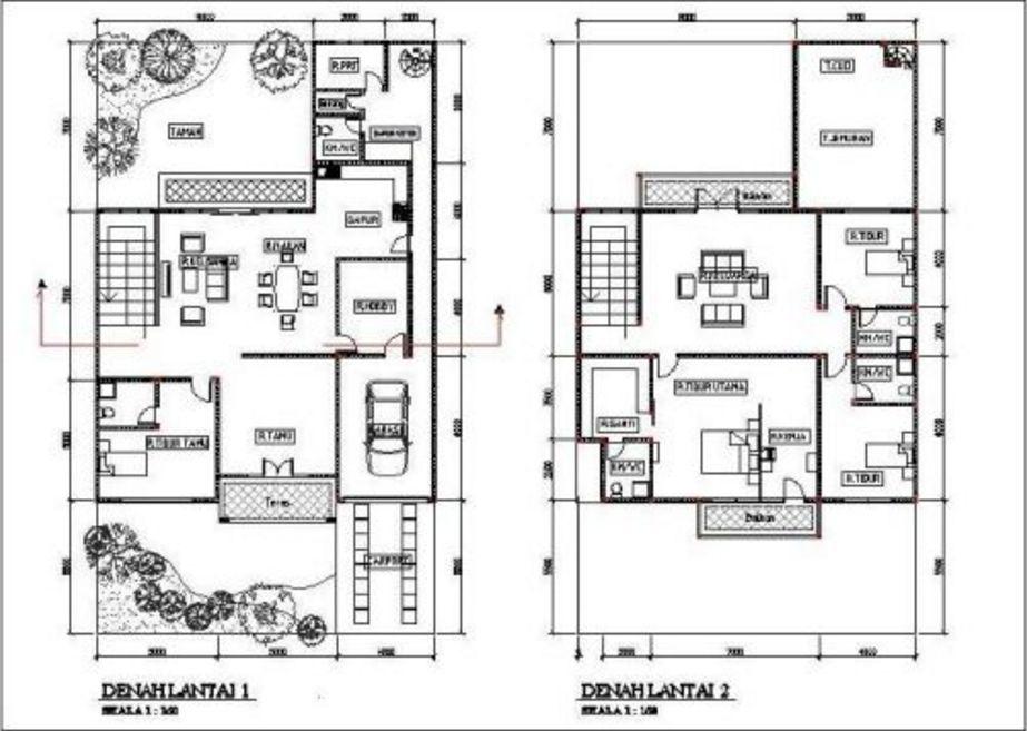 rancangan denah rumah modern 2 lantai yang populer