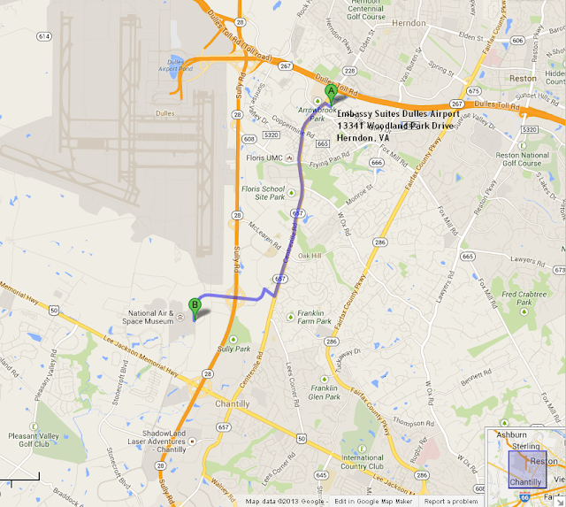 map showing Embassy Suites Dulles Airport is 10 min/4 miles from Udvar Hazy Air and Space Musuem
