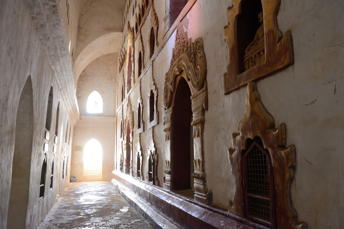 Sunlit corridor at Ananda Temple in Bagan, Myanmar