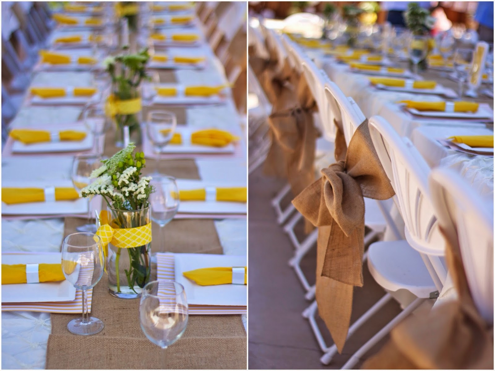 Yellow and burlap table setting, yellow and burlap party decor, party decorations in yellow