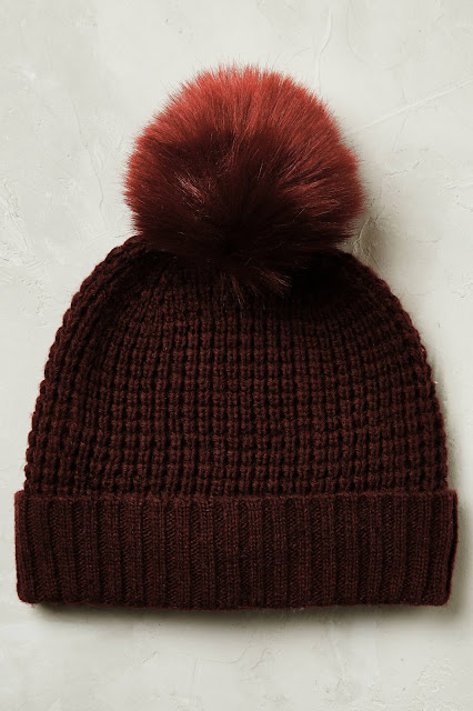 anthropologie burgundy beanie,