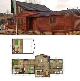 Casas de madera en espa a plano casa de madera 118 m2 for Casas de madera madrid