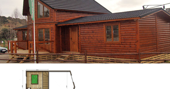 Casas de madera en espa a plano casa de madera 118 m2 - Casas de madera espana ...