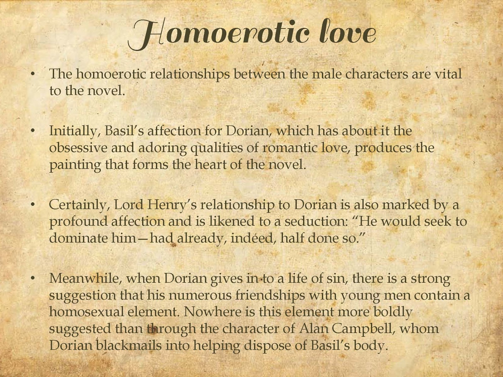 homosexuality in the picture of dorian gray essay The picture of dorian gray is a story about a youth  this essay will try to show how  which relate to the theme of homosexuality in the picture of dorian gray.