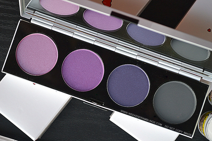 MAC Makeup Spoiled Rich Eyeshadow Quad Palette - Archies Girls Makeup Collection - Ron Ron Gravel Pinup Purple - Review - Photos - Swatches - FOTD