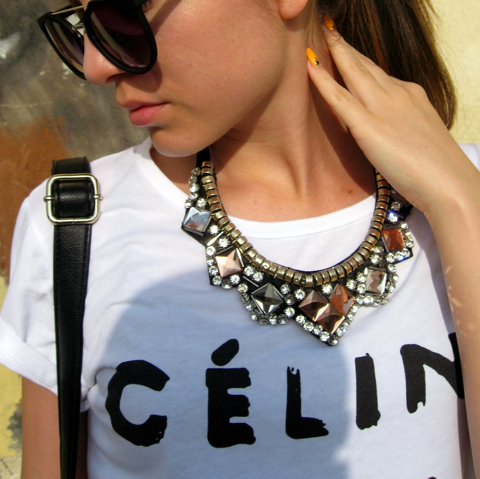 celine t shirt, boyfriend jeans, DIY chain cut boots, carpisa black studded bag, black cat eye sunglasses, sleek pony tail, statement necklace with white tee, bornprettystore.com jewelry and accessories