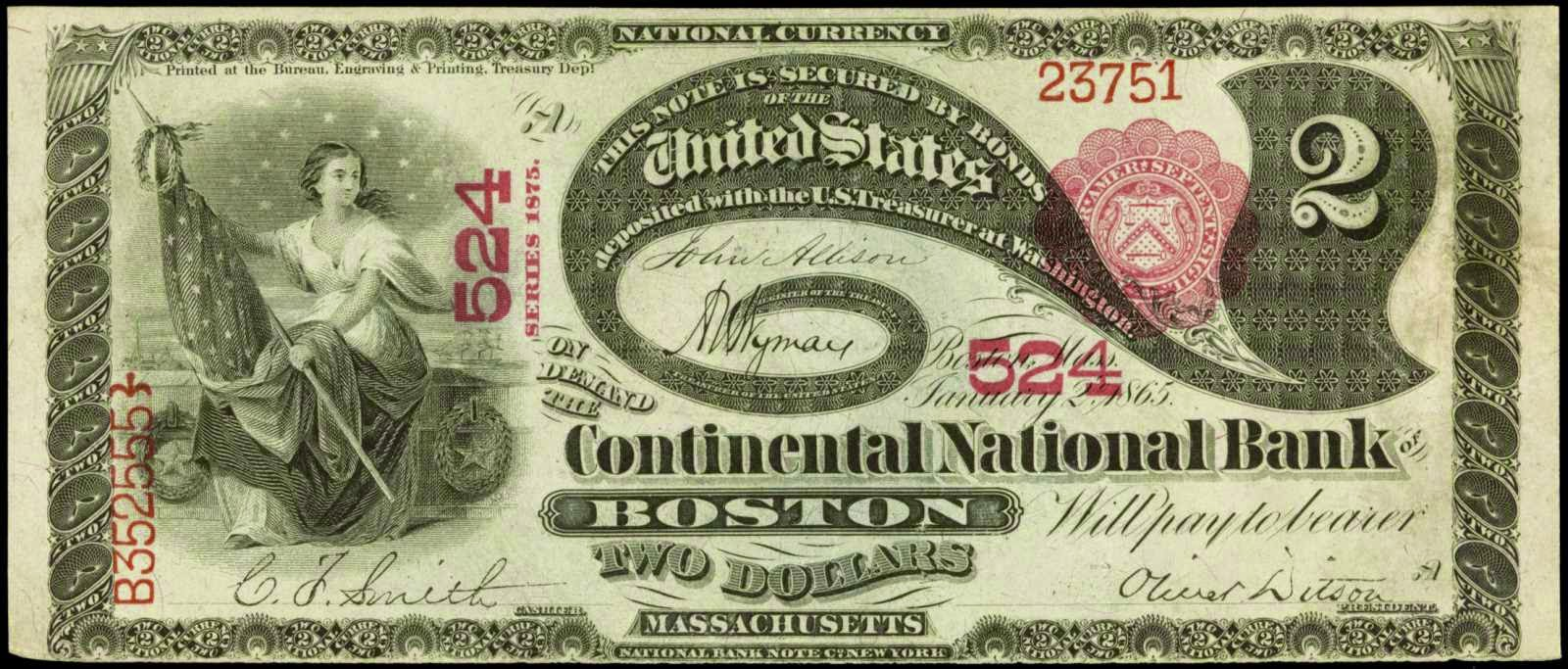 US paper money 2 Dollars National Bank Note 1875 Lazy Deuces