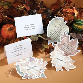 Ecru autumn wedding invitation