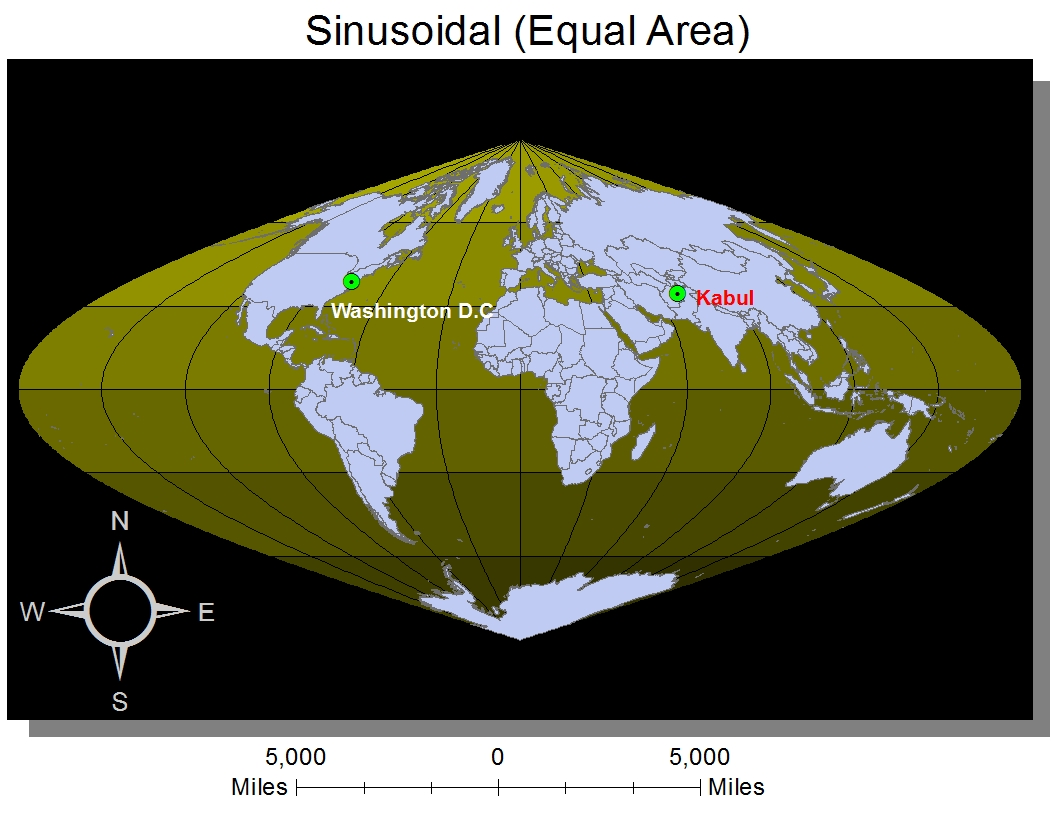 sinusoidal projection Sinusoidal projection sinusoidal projection n an equal-area map projection in which parallels and the prime meridian are straight lines and the other meridians are increasingly curved outward from the prime meridian.