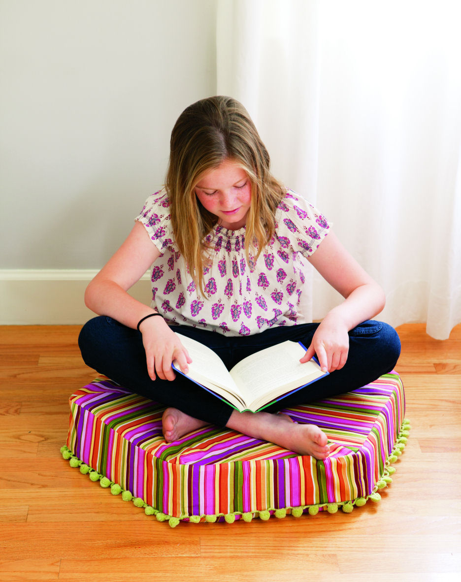 Hexie Pouf designed by Adrienne Lodico from Little One-Yard Wonders by Rebecca Yaker and Patricia Hoskins, photography (c) by Julie Toy, used with permission from Storey Publishing, 2014.
