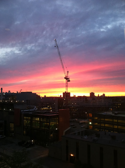 Photo of sunset, taken from Bldg 36, 6th floor