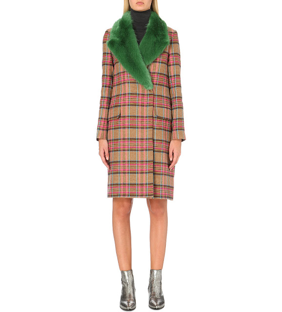 shrimp green collar coat, check coat fur collar, shrimp check coat,