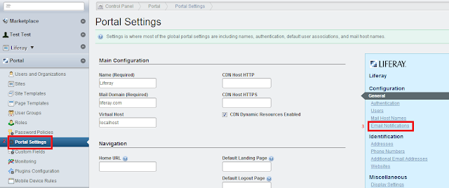Liferay portal settings