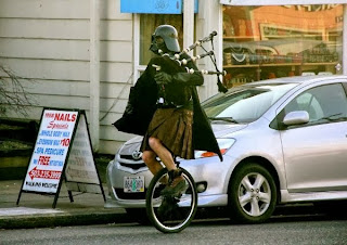 Bagpipes on a bicycle