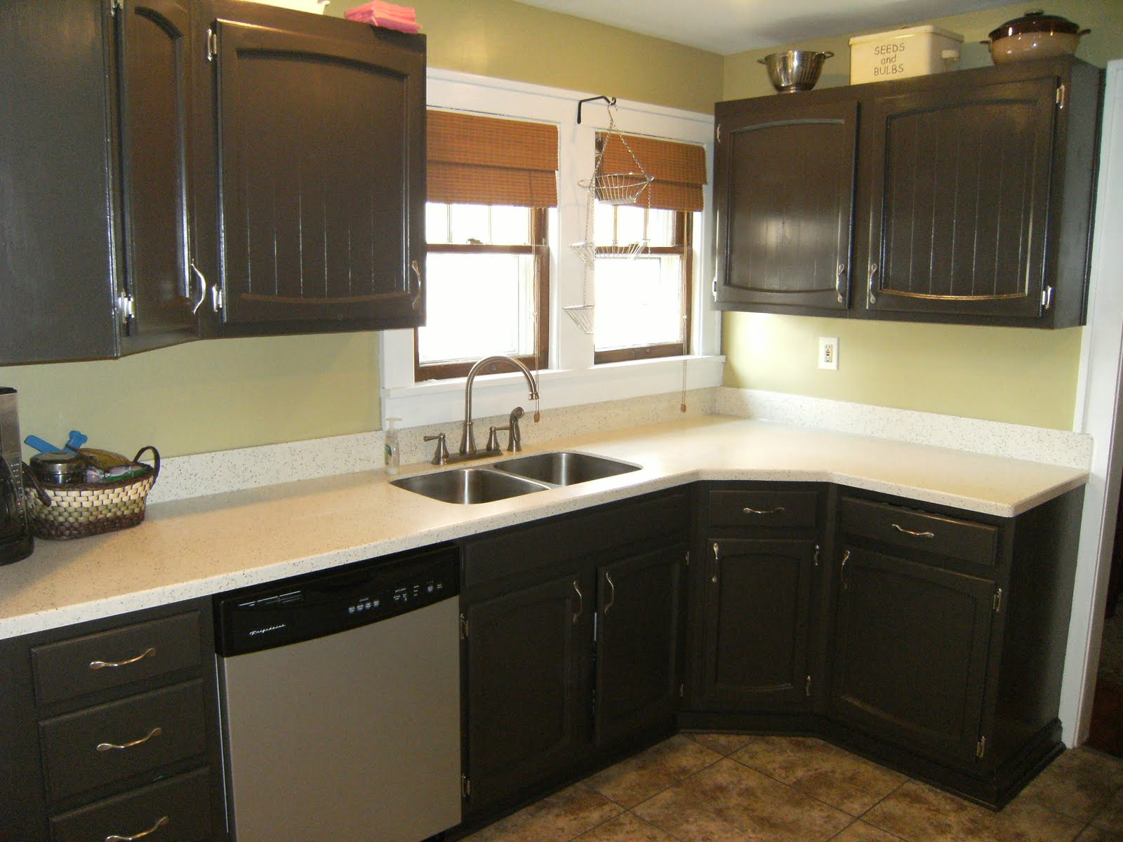 Painted projects for Dark brown painted kitchen cabinets