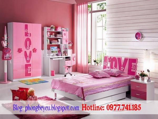 Bộ phòng ngủ cho bé gái chữ LOVE