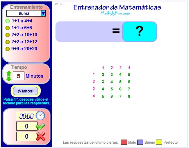 ENTRENADOR DE MATEMÁTICAS