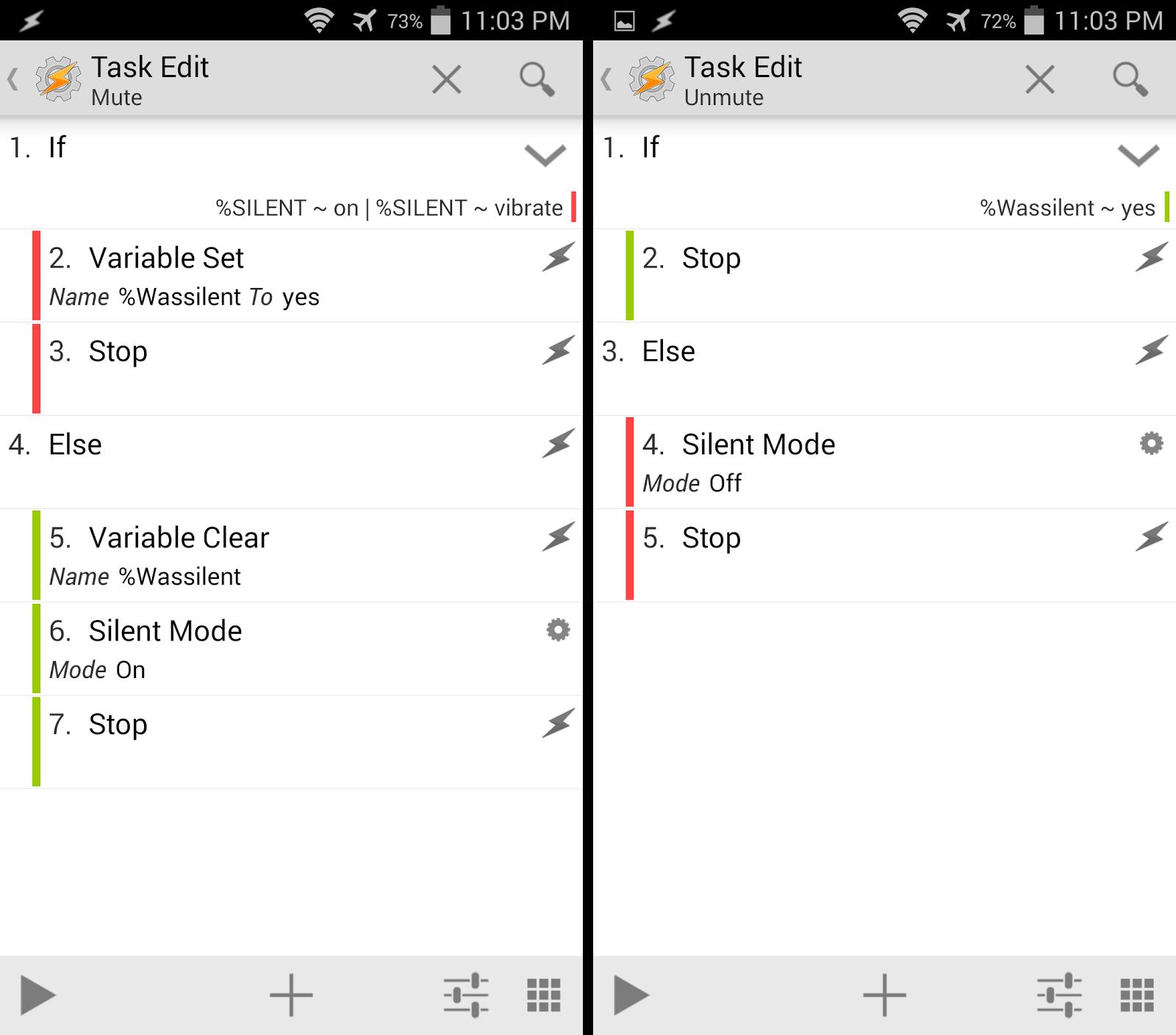 Mute and unmute tasks