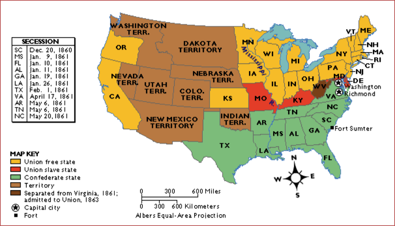 ... States that secede on Map, Union States,Confed. states, Border States