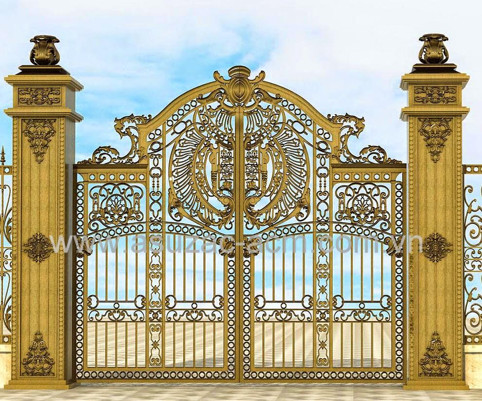Một số mẫu cổng nhôm đúc đẹp 2014