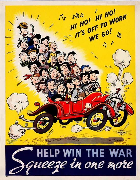 advertising, classic posters, free download, free printable, graphic design, printables, retro prints, travel, vintage, vintage posters, vintage printables, car, Help Win the War, Squeeze in One More - Vintage Carpool Advertising Poster