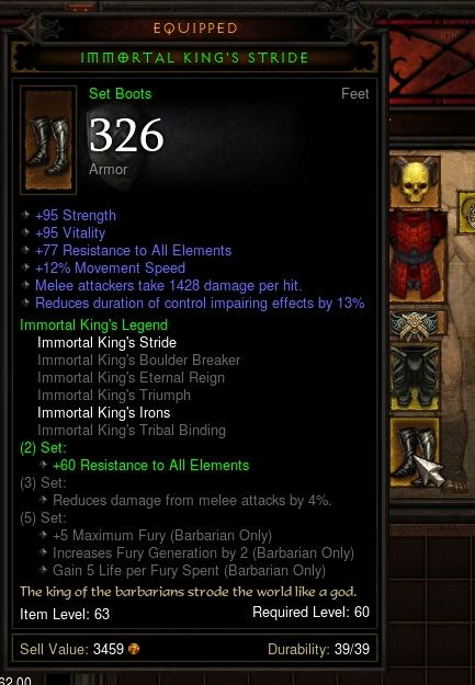 Immortal king set bonus diablo 2
