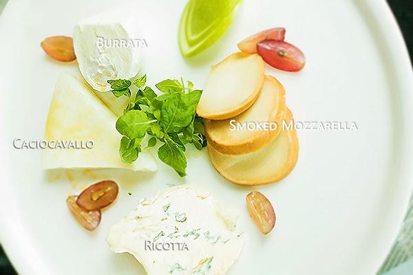Selezione Di Formaggio - a platter of assorted cheeses: caciocavallo, burrata, smoked mozzarella and ricotta (Culinary Bonanza)