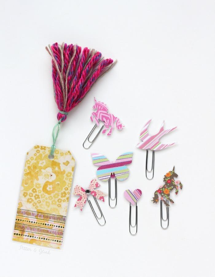 Make cute decorative planner clips and bookmarks using scrapbook paper! www.pitterandglink.com
