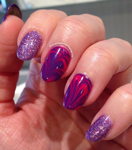 water marble, heart, zoya, pink, purple, Valentines