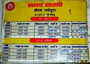 रेलवे समय सारणी: मधेपुरा से