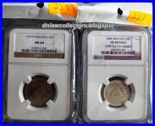 Malaya 20 Cents 1945 NGC