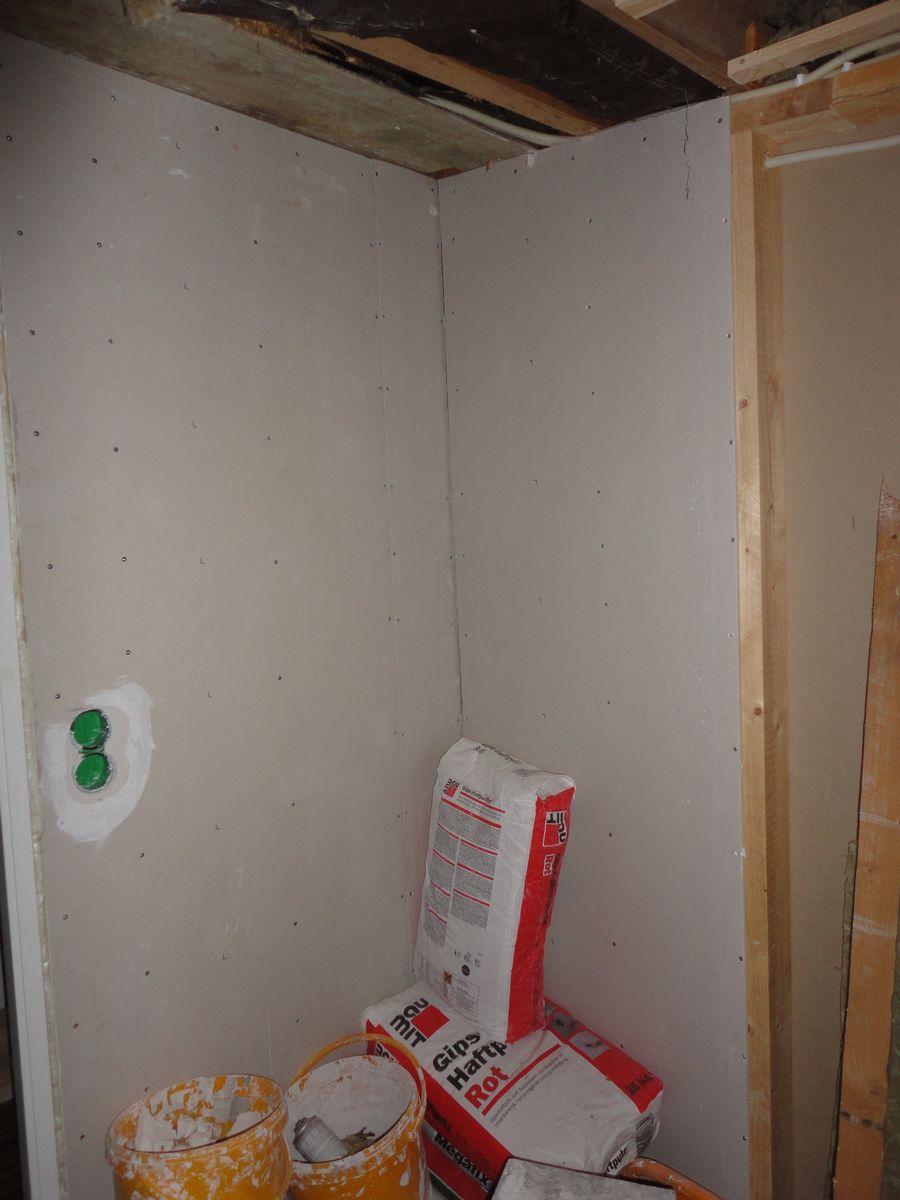 Päronprojektet: badrum, väggar och tak
