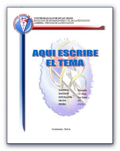 TRABAJOS UNIVERSITARIOS UMSS: CARATULAS UMSS EDUCACION 3