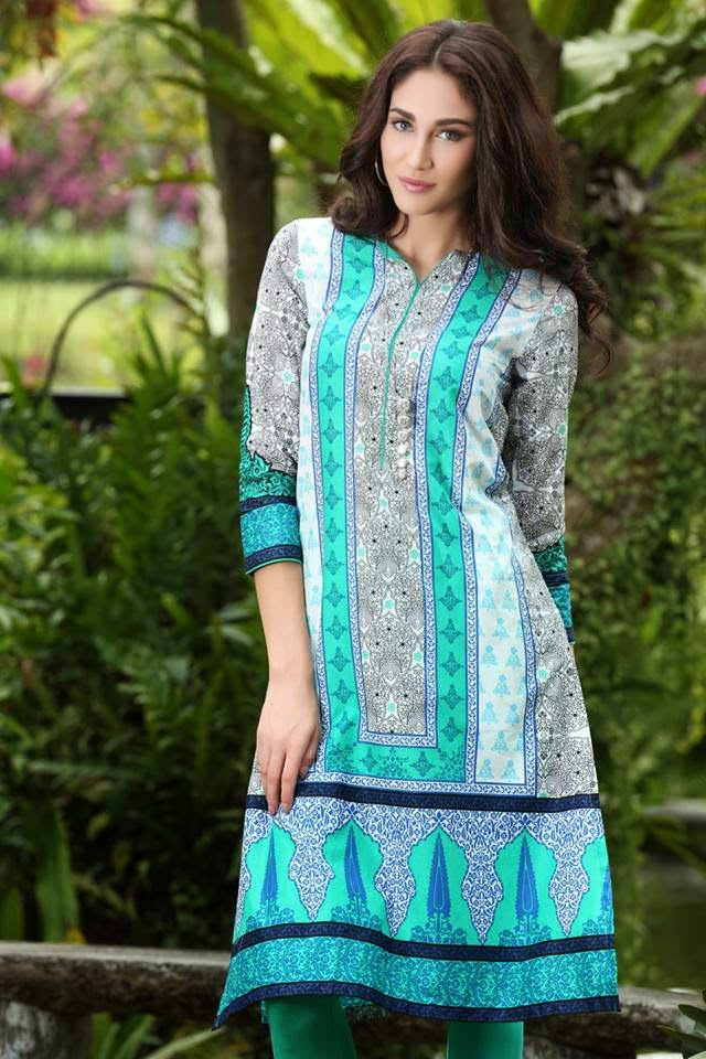 Printed Kurta, Party Wear, Stylish, Pakistani, Girls, 2015.