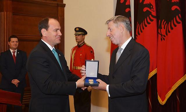 """Special Civil Merit"" medal to Italian Ambassador by Albanian's President"