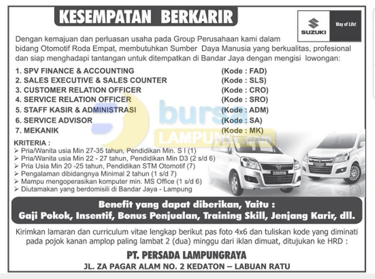 Recruitment PT. PERSADA LAMPUNG RAYA November 2014