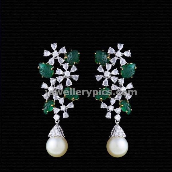 diamond emerald floral earrings
