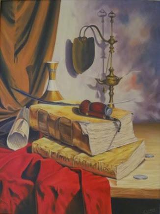 Bodegón de libros con pipa