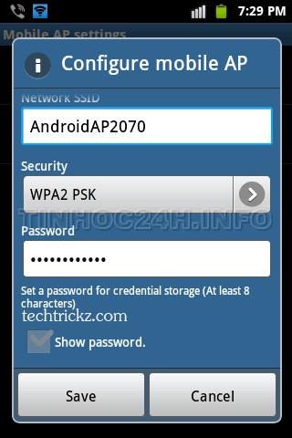 Configure Wifi hotspot on Android 2
