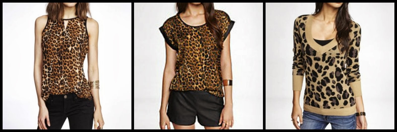 Express leopard halter top, easy tee, jacquard sweater