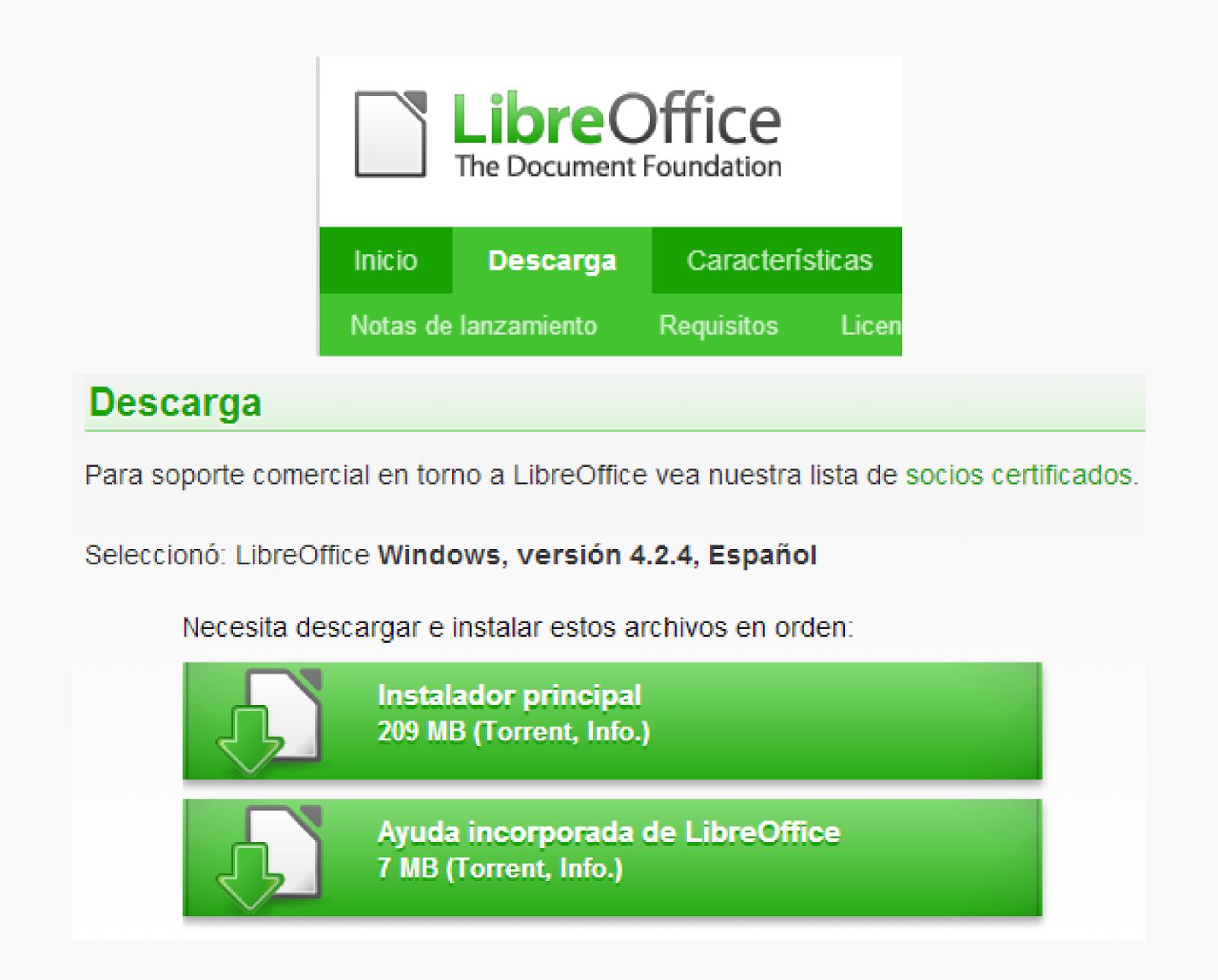 Link para descargar Libreoffice