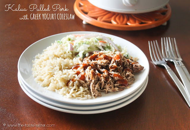 Kalua Pulled Pork with Greek Yogurt Coleslaw from The Taste Tester