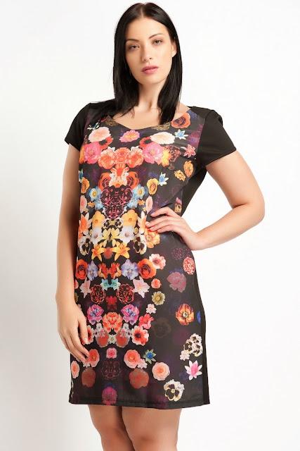 çiçekli elbise siyah renk koton 2014 elbise modelleri
