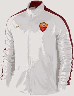 jaket bola murah as roma, reas jaket roma warna putih. grade ori, celana as roma, jaket ladies as roma
